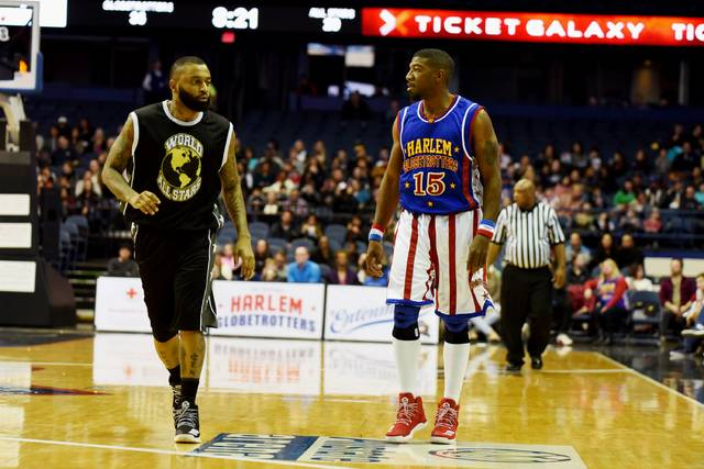 Harlem Globetrotters bounce toward Mohegan Sun Arena in Wilkes-Barre Twp.