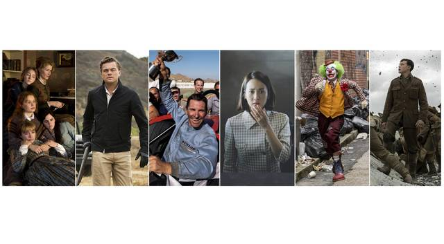 This combination photo shows scenes from six Oscar nominated films, from left, 'Little Women,' 'Once Upon a Time… in Hollywood,' 'Ford v. Ferrari,' 'Parasite,' 'Joker,' and '1917.' Sony   Sony   20th Century Fox   Neon   Warner Bros   Universal Pictures via AP