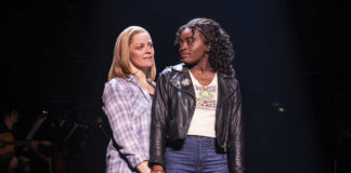 "This image released by Vivacity Media Group shows Elizabeth Stanley, left, and Celia Rose Gooding during a performance of ""Jagged Little Pill."" The musical leads the Tony Awards nominations with 15 nods in a pandemic-shortened season. (Matthew Murphy/Vivacity Media Group via AP)"