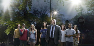 This image released by Peacock shows, from left, Breeda Wool, Harry Treadaway, Kelly Lynch, Mary-Louise Parker, Brendan Gleeson, Holland Taylor, Jharrel Jerome and Justine Lupe from the series 'Mr. Mercedes,' based on a Stephen King trilogy.                                  Sonar Entertainment | Peacock