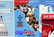 "This combination photo shows poster art for political documentaries, from left, ""All In: The Fight for Democracy,"" ""Boys State,"" ""537 Votes,"" ""Slay the Dragon,"" and ""The Fight."" The election has unleashed an avalanche of documentaries like no season before it. Dozens of films, exploring issues from gerrymandering to white supremacists, have sought to illuminate the many issues and trends voters are confronting at the polls on Tuesday. In a presidential election of enormous stakes, filmmakers have rushed to finish their films before Election Day. (Amazon, from left, Apple TV Plus, HBO Max, Magnolia Pictures, Magnolia Pictures via AP)"