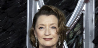 "FILE - Actress Lesley Manville appears at the premiere of the film ""Maleficent Mistress of Evil"" in London on Oct. 9, 2019. Manville currently stars in the film ""Let Him Go"" with Kevin Costner and Diane Lane. (Photo by Grant Pollard/Invision/AP, File)"
