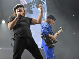 Brian Johnson, left, and Angus Young, of AC/DC, perform on the Rock or Bust Tour on Feb. 17, 2016, in Chicago.                                  AP photo