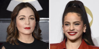 This combination photo shows Natalia Lafourcade, left, and Rosalia. A year after Rosalia made history by becoming the first solo female performer in 13 years to win the top prize at the Latin Grammys, Natalia Lafourcade followed in her footsteps with a big win at the 2020 show, taking home the album of the year honor on Nov. 19, 2020, for 'Un Canto Por México, Vol. 1.'                                  AP photo