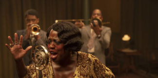 This image released by Netflix shows Chadwick Boseman, from left, Viola Davis and Colman Domingo in 'Ma Rainey's Black Bottom.'                                  AP photo