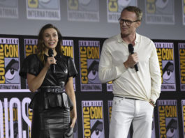 Elizabeth Olsen, left, and Paul Bettany participate in the 'WandaVision' portion of the Marvel Studios panel on day three of Comic-Con International in 2019, in San Diego.                                  AP photo