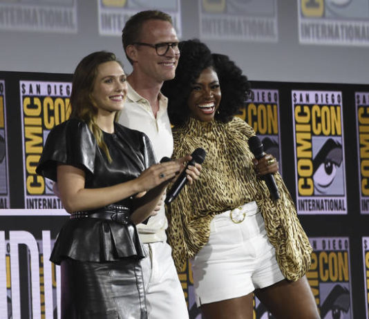 "Elizabeth Olsen, from left, Paul Bettany and Teyonah Parris participate in the ""WandaVision"" portion of the Marvel Studios panel on day three of Comic-Con International on Saturday, July 20, 2019, in San Diego.                                  AP file photo"